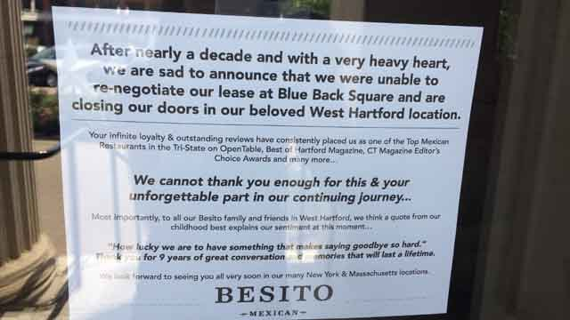 This sign was posted on Besito's door (WFSB)