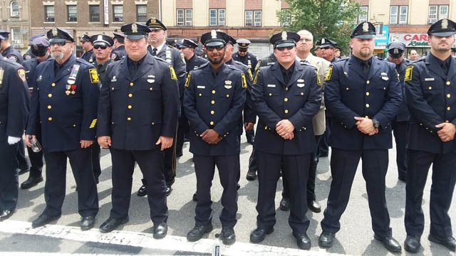 Hartford officers attended the funeral of NYPD Officer Miosotis Familia on Tuesday. (D/C Foley photo)