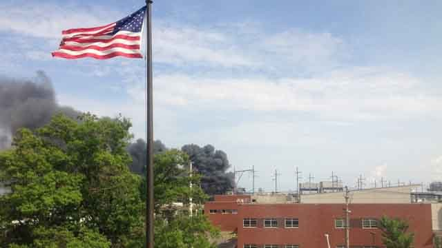 Crews are battling a fire at the old AGI Rubber Company building in Bridgeport. (Bridgeport Fire Dept.)