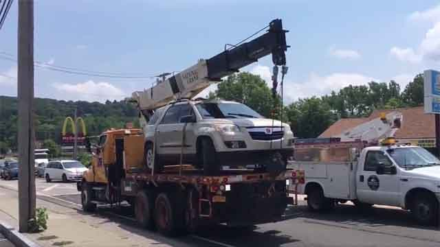 This is the car that was stolen and crashed in Ansonia on Thursday (WFSB)