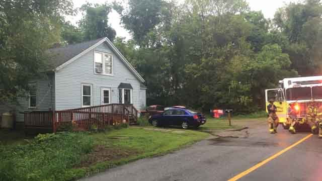 A house in Plainfield was struck by lightning on Wednesday (WFSB)