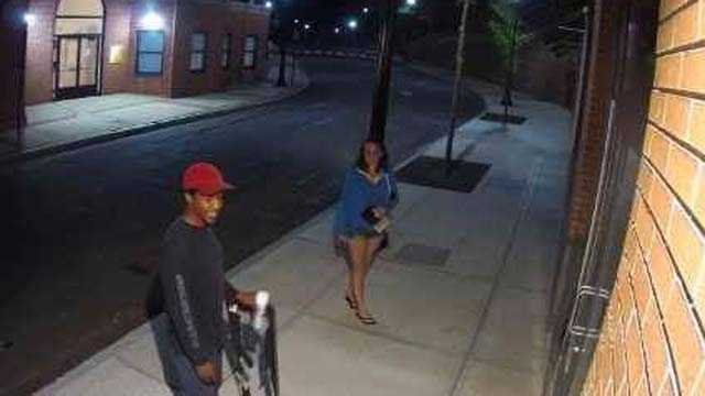 These two people are suspected of spray painting graffiti onto a Meriden building. (Meriden PD)