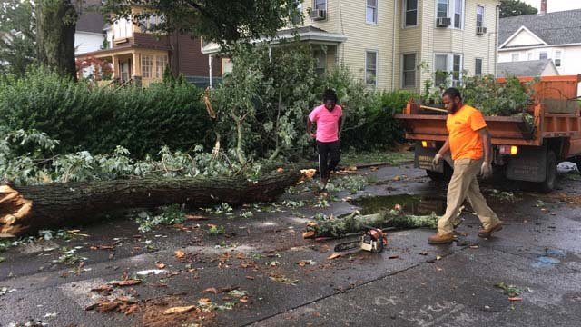 Storms left behind serious damage in Ansonia on Thursday (WFSB)