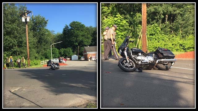 A motorcycle crash closed Route 30 in Tolland on Sunday evening. (@TollandAlert)