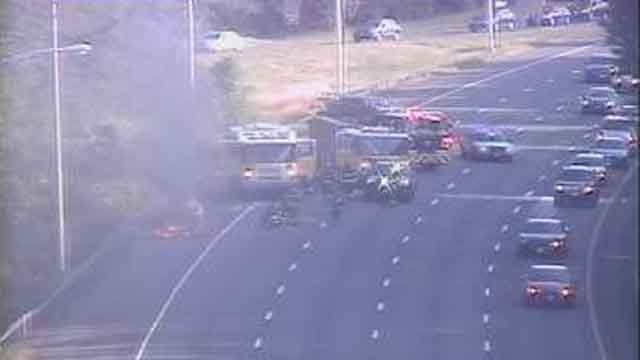 A car fire closed three lanes on I-91 north in Rocky Hill on Monday evening. (CT DOT)