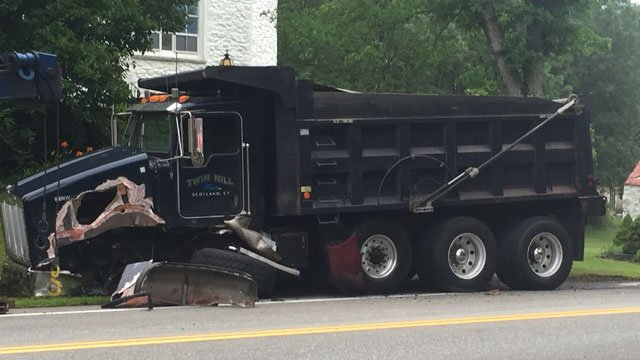 A dump truck was involved in a crash on Route 44 in Ashford on Wednesday morning. (WFSB)