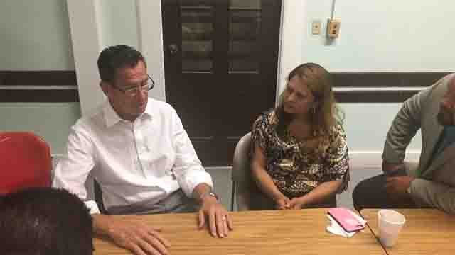 Gov. Dannel Malloy met with Nury Chavarria where she is seeking refuge in New Haven (Gov. Malloy Office)