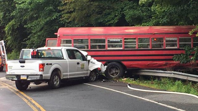 Sixteen tobacco workers were hospitalized with minor injuries after this crash in Suffield, according to police. (Suffield police)