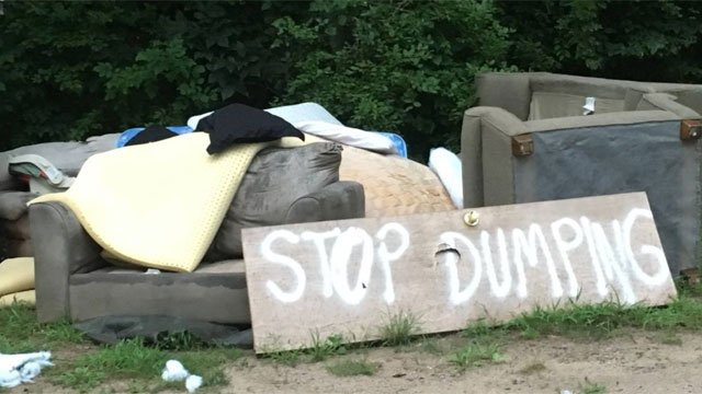 Police look into illegal dumping on Route 140. (East Windsor Police Department)