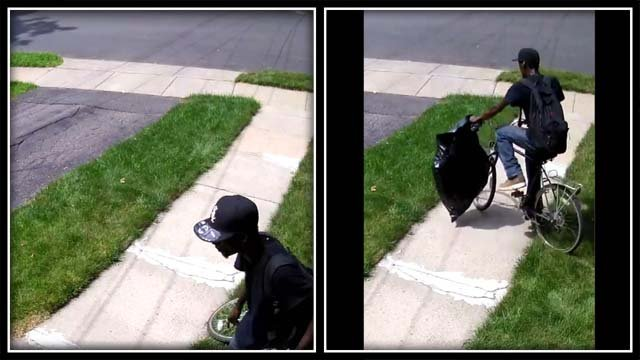 This man was caught on camera stealing packages from a home (Garrett Fishman?)