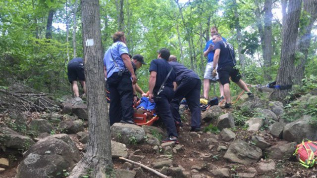 A hiker was injured at Sleeping Giant State Park in Hamden on Wednesday afternoon. (Hamden Fire Department)