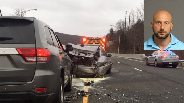 Driver turns self in to police after hitting cruiser on Route 7