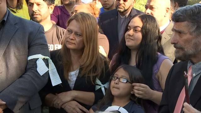 Nury Chavarria is home with her family after her motion to stay was granted. (WFSB)