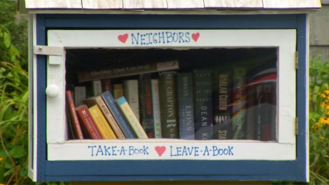 """Police are investigated a suspected arson at the """"free book library"""" in West Hartford on Wednesday night. (WFSB)"""