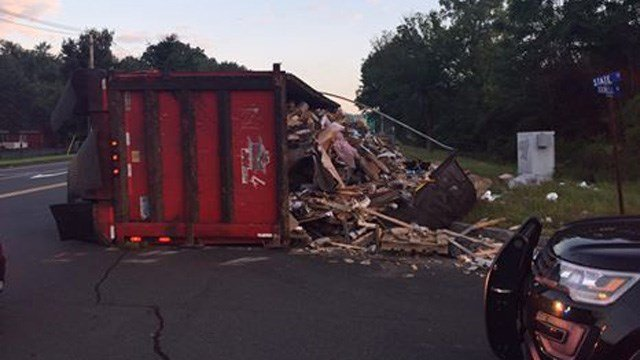 A tractor trailer overturned on Dixwell Avenue in North Haven. (North Haven police)