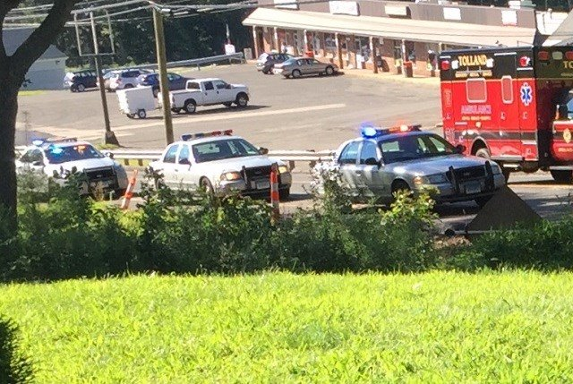 Crews are responding to bicyclist struck by a car in Tolland on Sunday. (Viewer Submission)