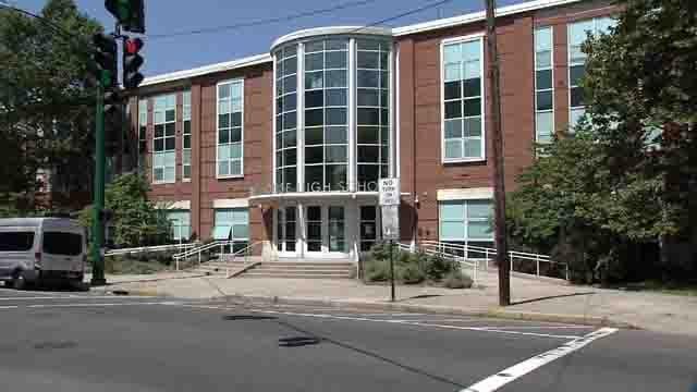 Vandalism was found at Hillhouse High School in New Haven (WFSB)