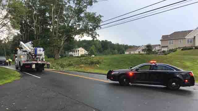 A downed power line was spotted in Plymouth on Route 262 (WFSB)