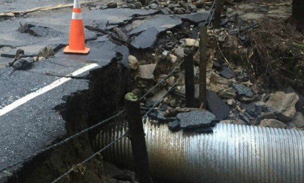 A road was damaged in Cornwall following heavy rain Wednesday (Courtesy Cornwall Highway Dept.).