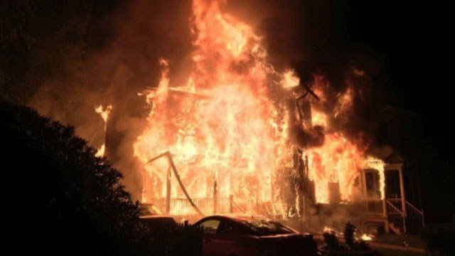 Crews battle heavy fire in Stafford early Thursday morning (Courtesy Stafford Fire Marshal).