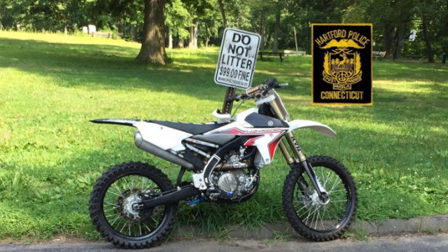 A dirt bike that was stolen from Suffield and seized by police in the capital city. (Hartford Police Department)
