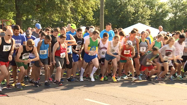 "Over 2,000 runners and walkers laced up for the ""Chip's 5K Road Race"" in Plainville on Sunday. (WFSB)"