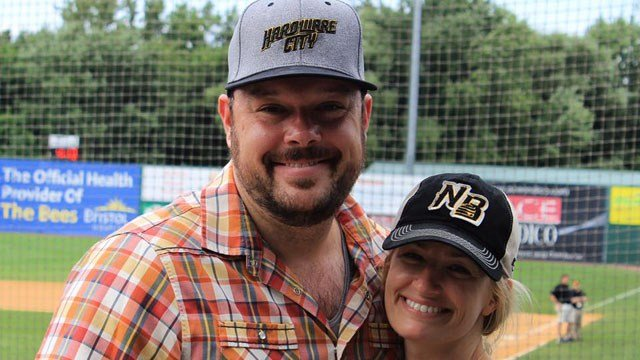 Beth Behrs and Michael Gladis were at a New Britain Bees game on Sunday. (New Britain Bees Facebook photo)