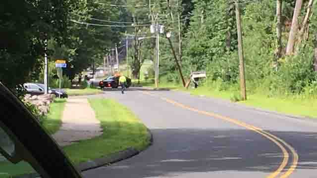 Crews responded to a serious crash in Plymouth on Tuesday (WFSB)