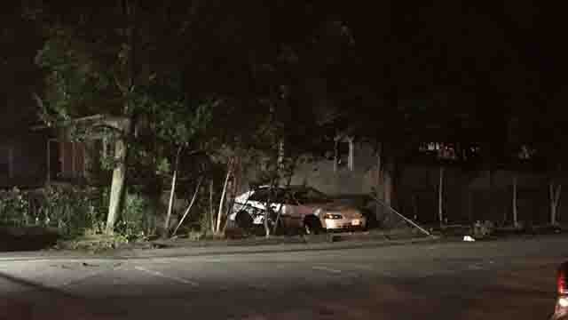 A 25-year-old man is in critical condition after he was pinned between a car and a tree (WFSB)