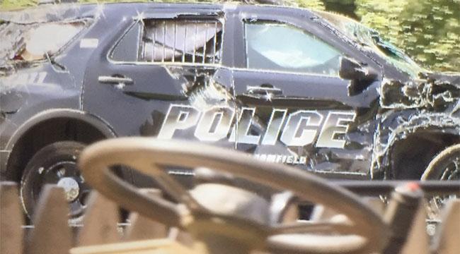 A Bloomifeld police cruiser was damaged in a crash on Thursday morning. (WFSB)