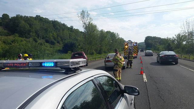A crash snarled traffic on I-91 south in Middletown on Friday afternoon. (State police)