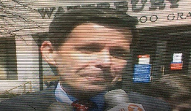 Former Waterbury Mayor Mike Bergin gives an interview for Channel 3 in 1991. (WFSB)