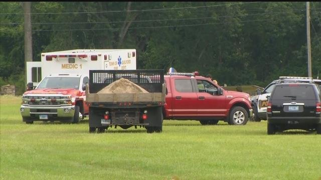 Emergency Crews are at the Guilford Fair Ground after plane makes and emergency landing on Monday evening. (WFSB)