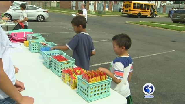 Students were given back to school supplies in West Haven on Monday (WFSB)