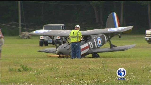 A pilot made an emergency landing at the fairgrounds in Guilford on Monday afternoon (WFSB)
