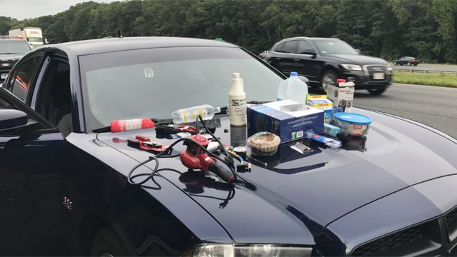 """Police seized these items which are believed to be part of a """"one pot meth lab"""" (CT State Police)"""