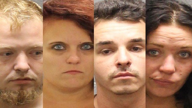 Police said Phillip Santelle, 30, of Seymour, William Gibson, 29, of Waterbury, Krystine Gilbert, 28, of Bridgeport and Katryana Freberg, 24, of Torrington, were arrested after they attempted to rob a home in Watertown. (Watertown Police)