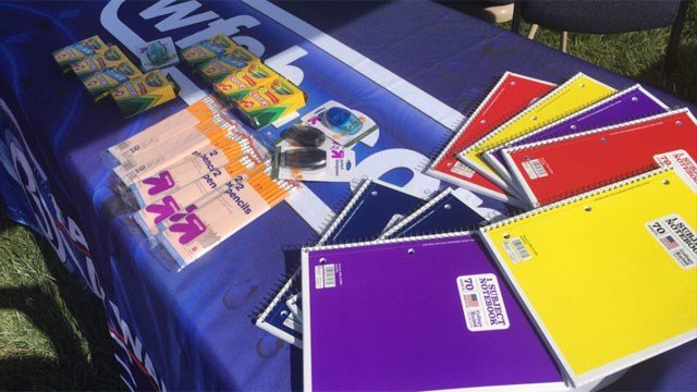 Some of the school supplies collected at our back-to-school drive. (WFSB)