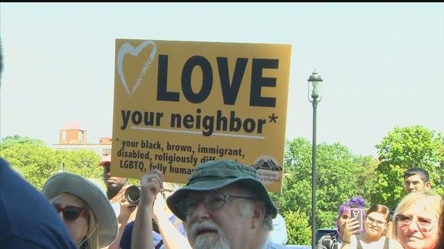 Mayors, state representatives and other elected officials attended an anti-hate rally in Hartford on Thursday morning. (WFSB)