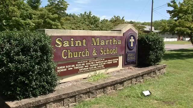 Tires were ripped off a priest's car in Enfield this week (WFSB)