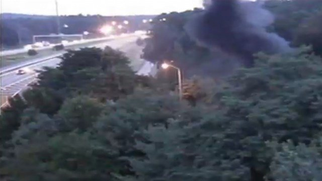 Smoke billowed from a car fire in Windsor. (DOT)