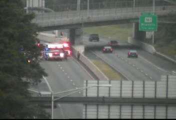 Emergency vehicles at the scene of a crash on I-95 in East Lyme. (CT DOT camera)