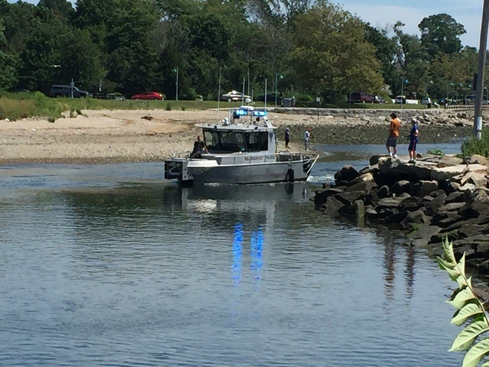Crews search the water in the area of the Penfield Reef in Fairfield.  (WFSB)