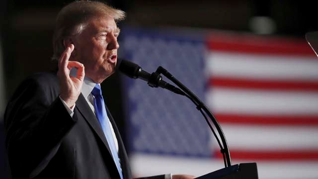 President Donald Trump speaks at Fort Myer in Arlington Va., Monday, Aug. 21, 2017, during a Presidential Address to the Nation about a strategy he believes will best position the U.S. to eventually declare victory in Afghanistan. (AP Photo/Carolyn Kaster