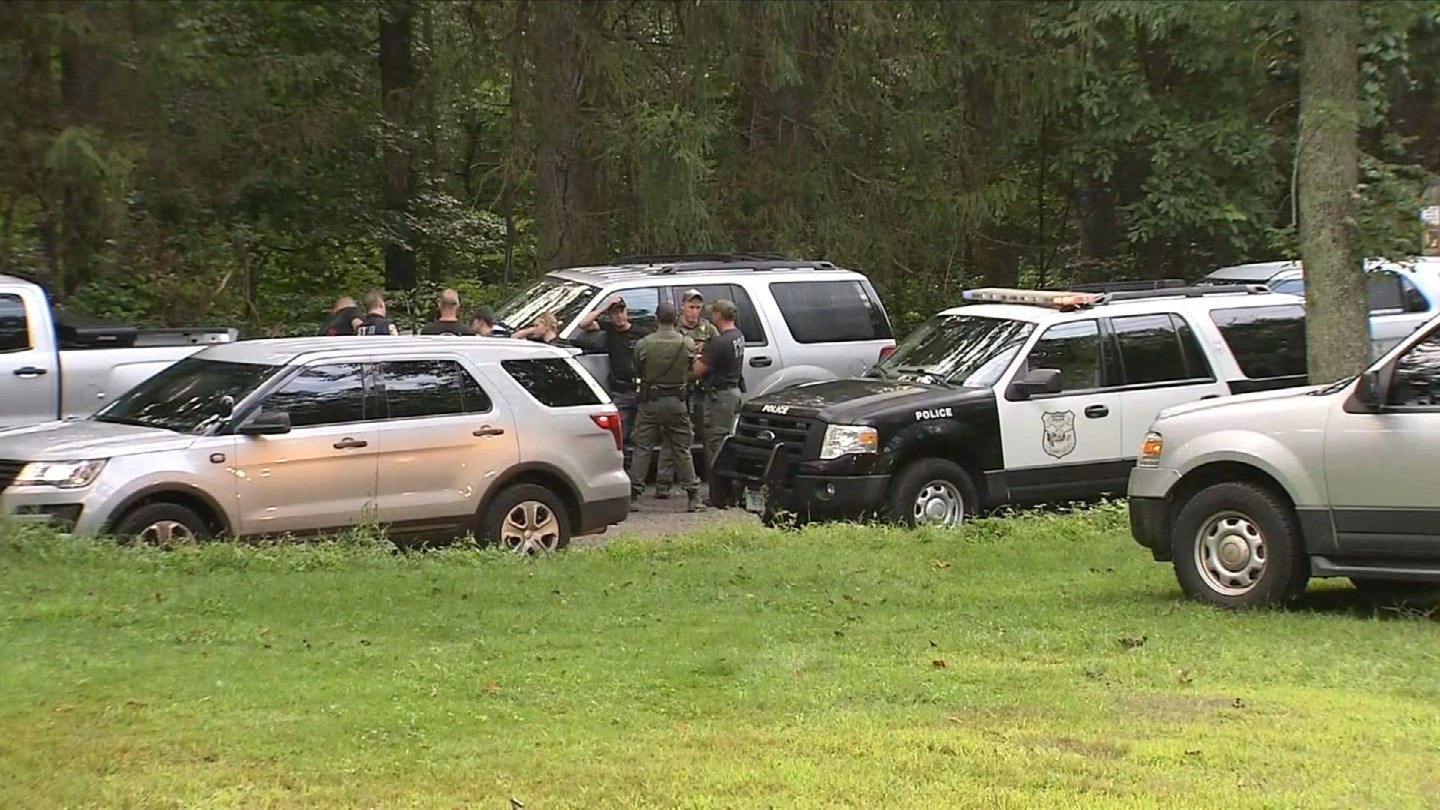 State police are using K9 units and other services to find a missing mother and children in the Naugatuck State Forest in Oxford. (WFSB)