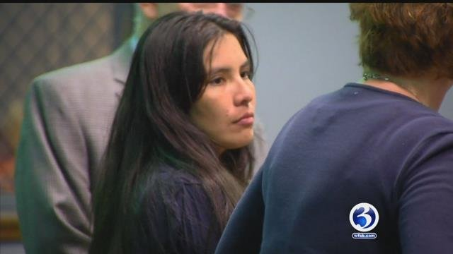 Gloria Sanchez-Cerritos is in the custody of U.S. Immigration and Customs Enforcement agents after her court appearance. (WFSB)