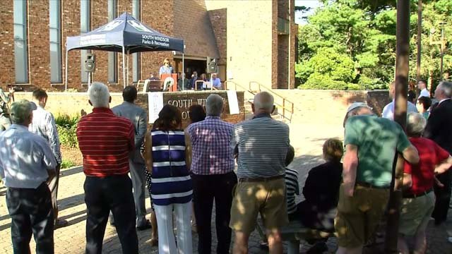 Education leaders rallied in South Windsor on Wednesday (WFSB)