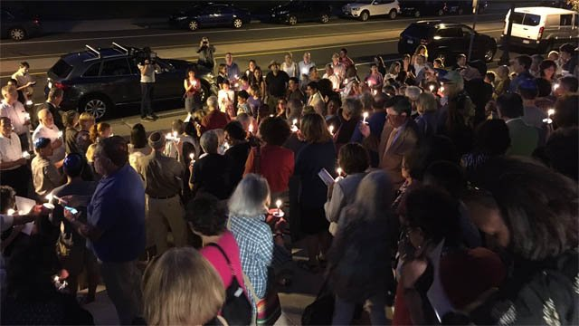 A vigil to stand against violence and hate was held in West Hartford on Wednesday (WFSB)