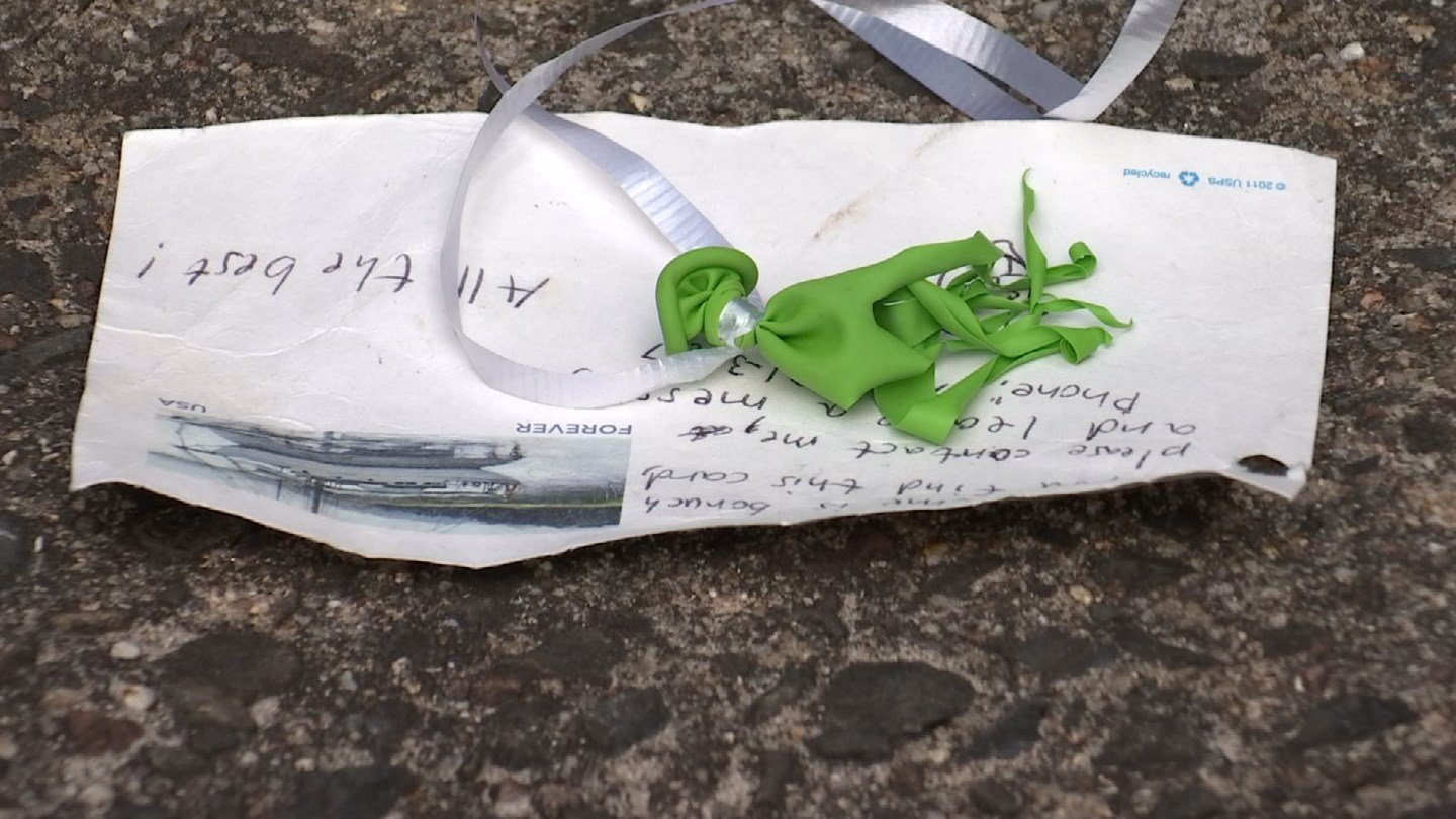 A balloon with a handwritten note arrived at a man's home in East Hampton last week. (WFSB)