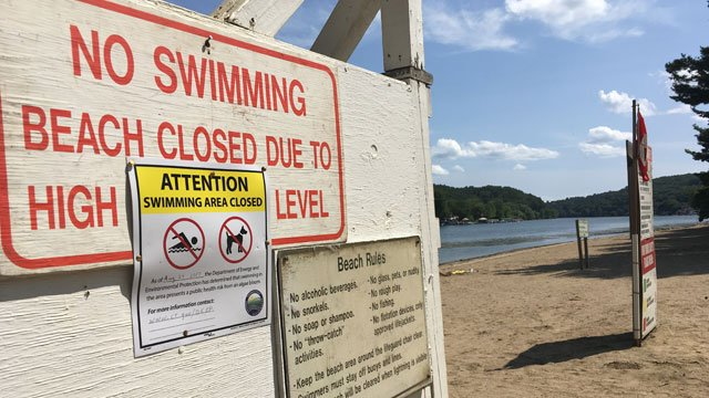 The swimming area at Indian Well State Park in Shelton is closed for the weekend. (WFSB)